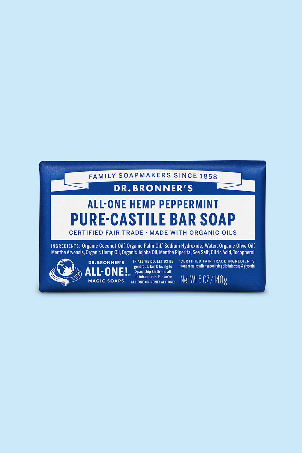 Dr Bronner's Pure Castile Bar Soap - Peppermint