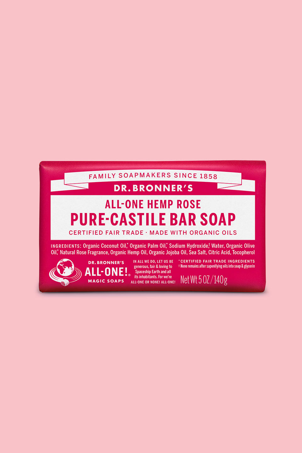 Dr Bronner's Pure Castile Bar Soap - Rose