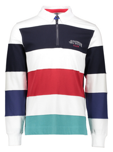 Billionaire Boys Club Striped Zip Rugby Shirt - White