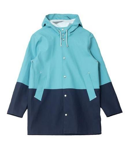 Stutterheim Stockholm Raincoat - Ocean Green/Navy
