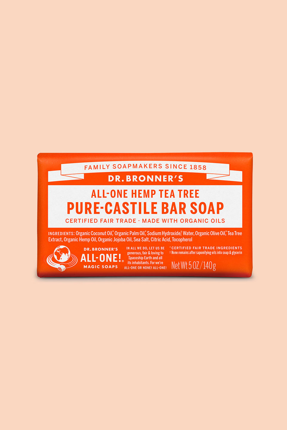 Dr Bronner's Pure Castile Bar Soap - Tea Tree