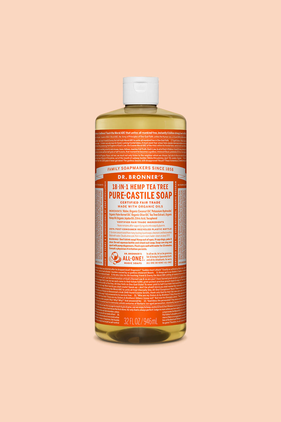 Dr Bronner's Pure Castile Soap - Tea Tree 946ml