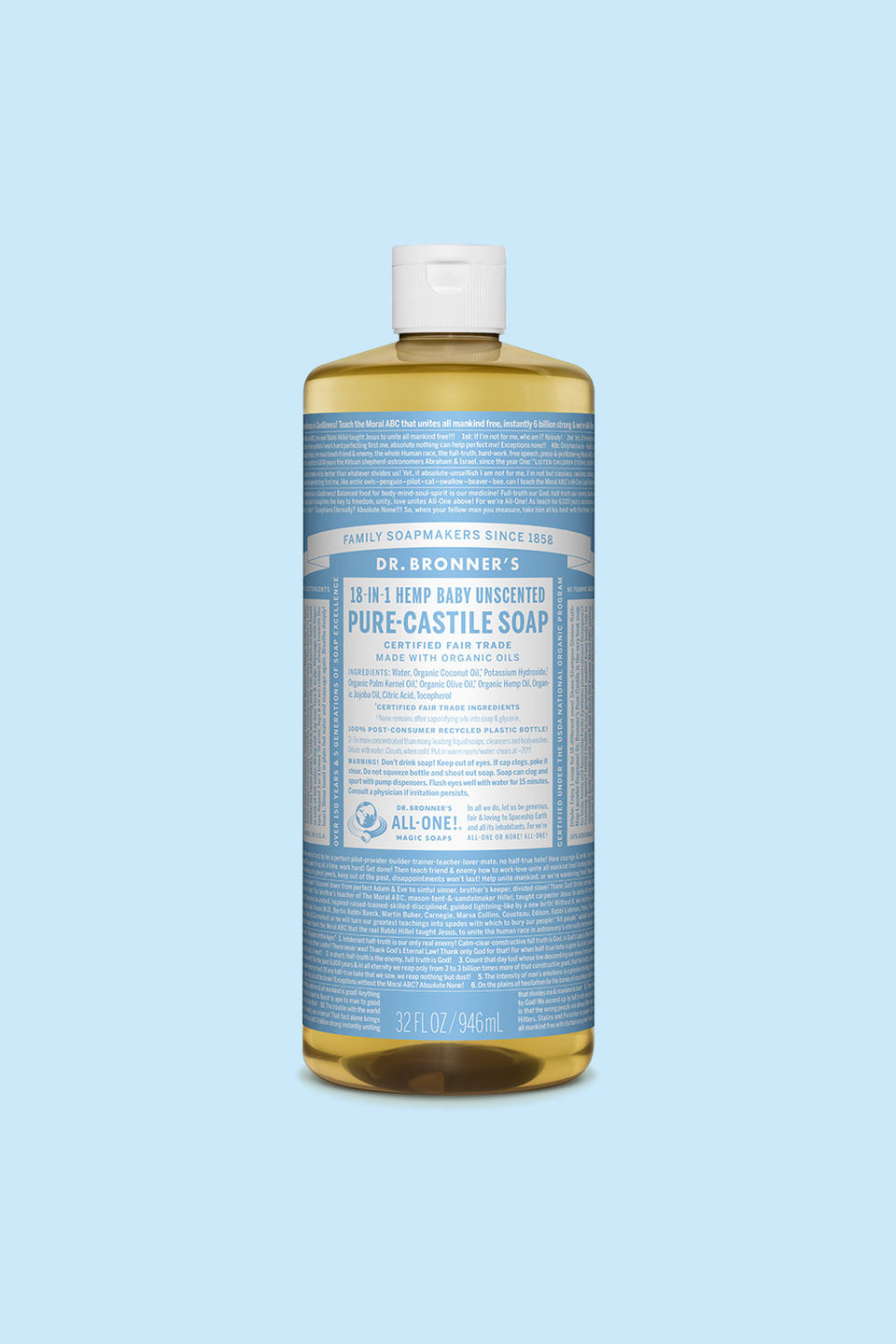 Dr Bronner's Pure Castile Soap - Baby Unscented 946ml