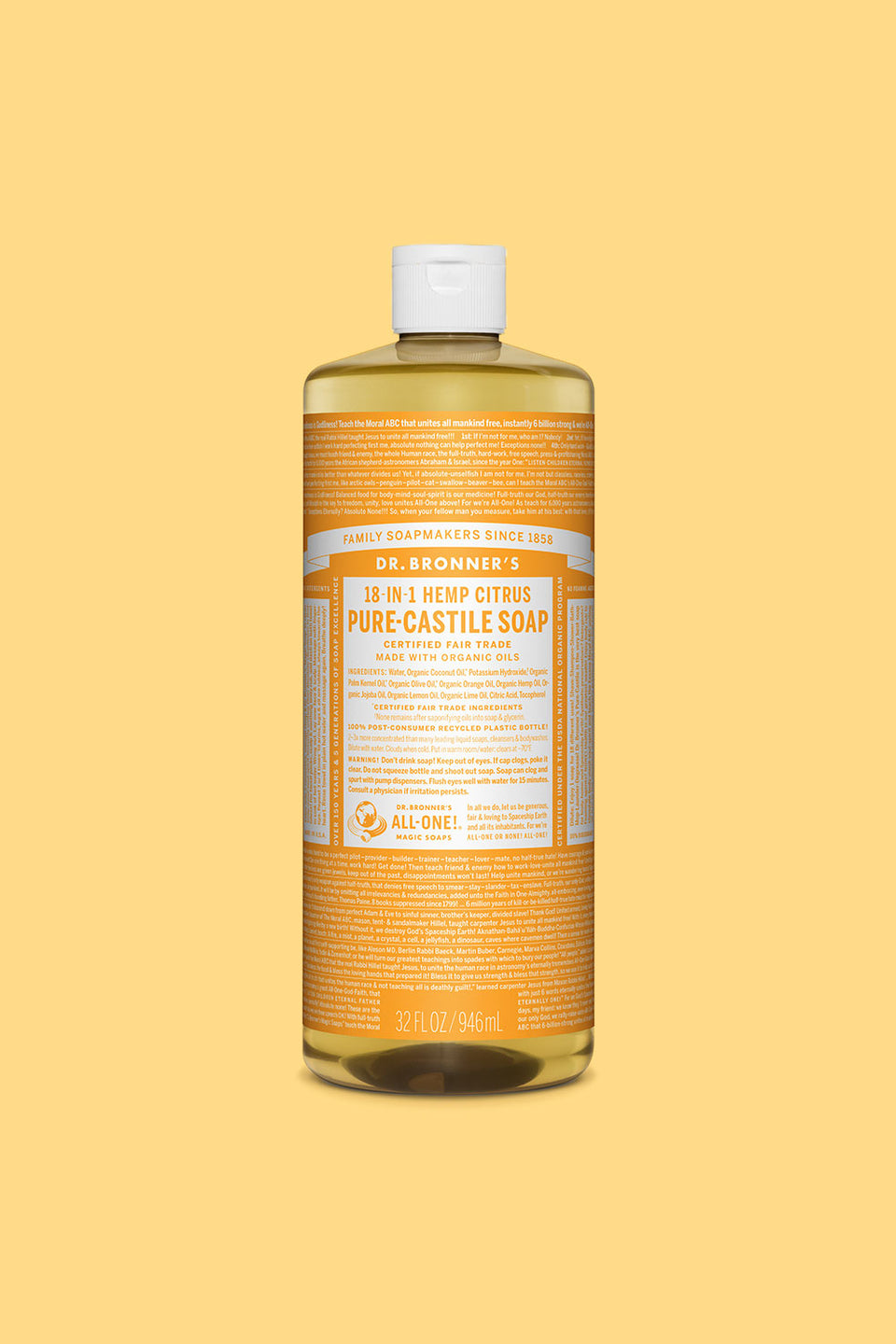 Dr Bronner's Pure Castile Soap - Citrus Orange 946ml