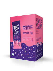 Yogabar Breakfast Protein Apricot and Fig Bars, Pack of 6 (50gm each)