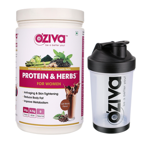 OZiva Protein & Herbs Cafe Mocha for Women + Free Shaker
