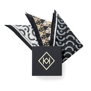 Wink-Wink Silk Pocket Square in White with Black