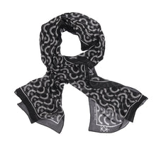 Wink-Wink Silk Wrap Scarf in Black with White