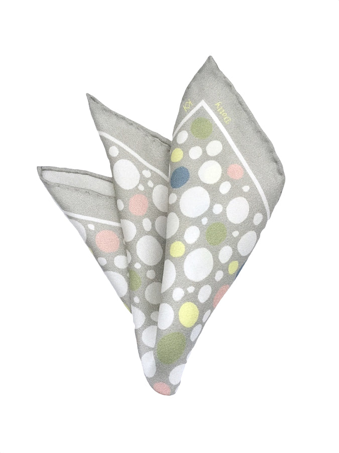 Dotty Pocket Square in Grey with Colour