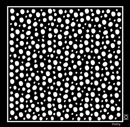 Dotty Silk Pocket Square in Black with White