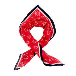 Signature K Symbol Silk Handkerchief Scarf in Red with White