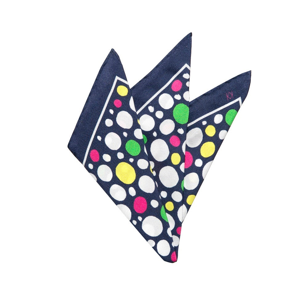Dotty Pocket Square in Navy with Colour