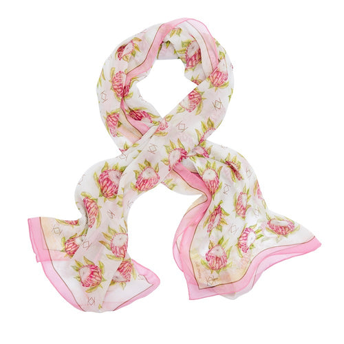Solo Protea Wrap Silk Scarf with Pink Trim