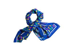 Save the Children Silk Scarf in Cobalt Blue