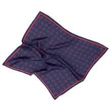 Signature K Symbol Silk Handkerchief Scarf in Navy with Red