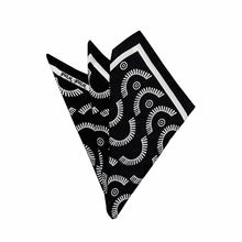 Wink-Wink Silk Pocket Square in Black with White
