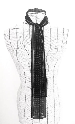 Signature K Symbol Silk Tie Scarf in Black with White