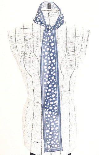 Dotty Silk Tie Scarf in Blue with White