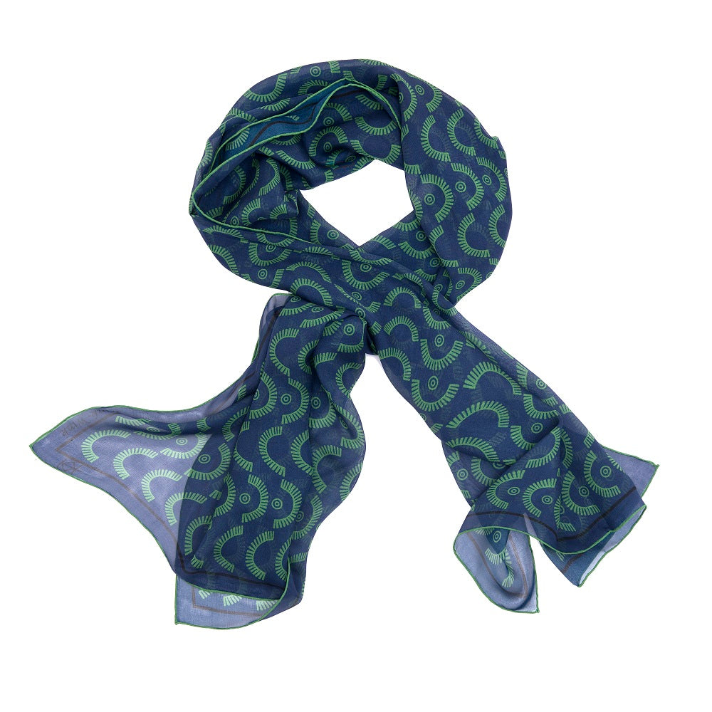 Wink-Wink Silk Wrap Scarf in Navy with Green