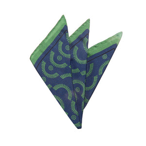 Wink-Wink Silk Pocket Square in Navy with Green