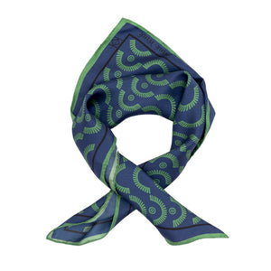 Wink-Wink Silk Handkerchief Scarf in Navy with Green