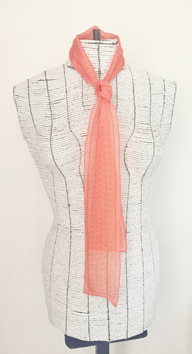 Signature K Symbol Silk Tie Scarf in Peach with Gold