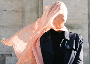 Signature K Symbol Silk Handkerchief Scarf in Peach with Gold (SOLD OUT contact to order)