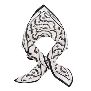 Wink-Wink Silk Handkerchief Scarf in White with Black