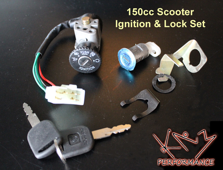 Ignition Switch with Keys and Trunk Lock 5 Pin 150cc Scooter