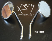 Mirror Set Chrome Round Retro 8mm