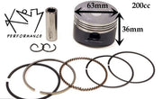 Piston & Ring set 63mm 200cc