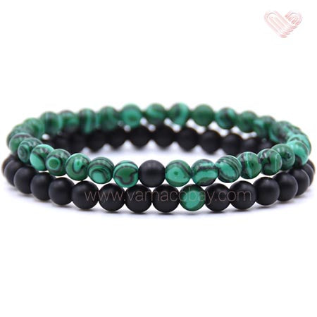 Duo de bracelets couple, amitié, protection malachite
