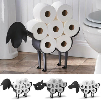 Support Rouleau Papier Toilette Mouton Chat Métal Noir Stockage Design Artisanat