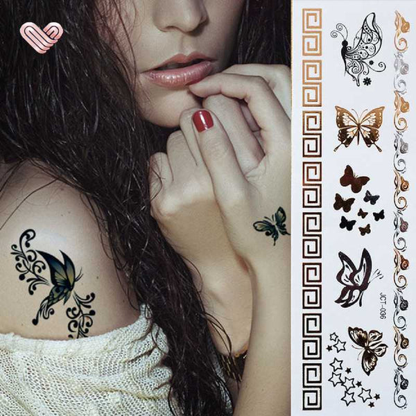 tattoo ephemere papillon romantique