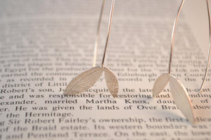 Silver double leaf textured earrings