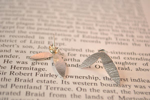 Sterling silver double leaf earrings