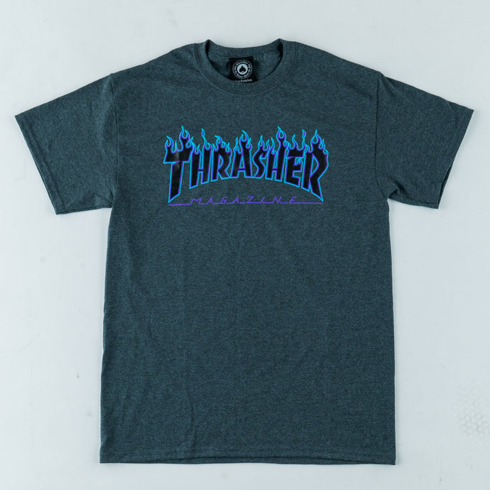 Thrasher | Flame Tee - Dark Heather