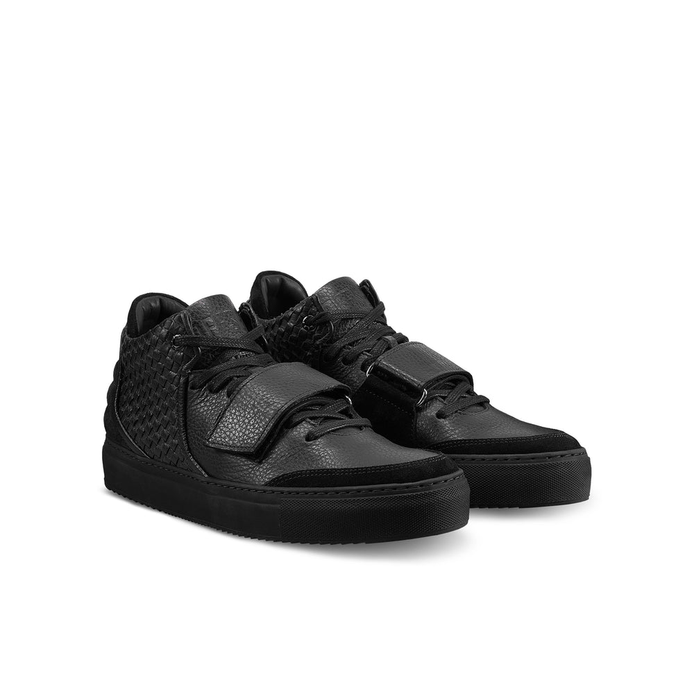 OFFSET Brand Kaneda Black Leather Mid Top Sneakers