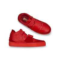 OFFSET Brand Kaneda Red Leather Mid Top Sneakers