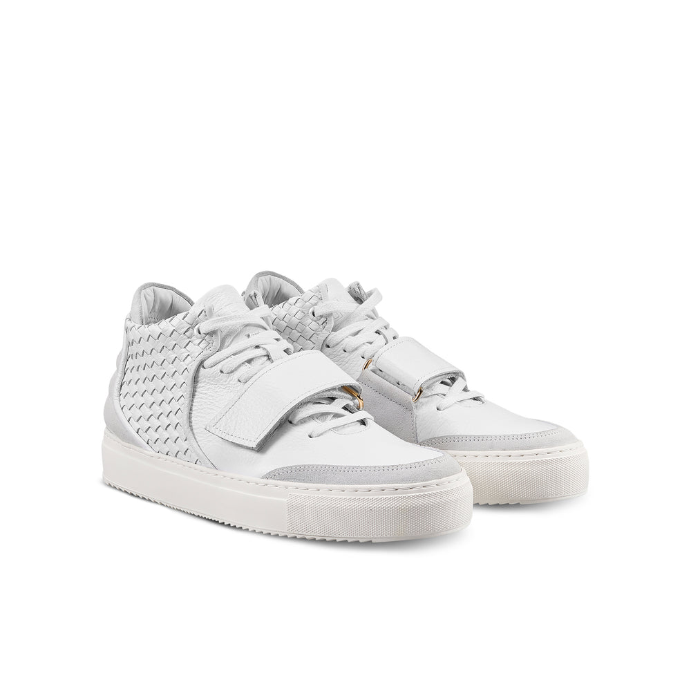 OFFSET Brand Kaneda White Leather Mid Top Sneakers