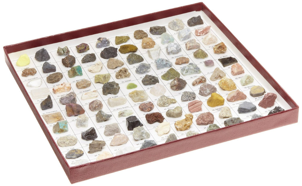 Rocks and Minerals | 100 Specimen Mounted Collection | Study Guide Included