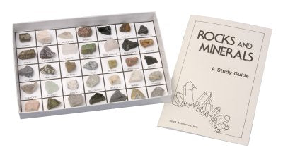 Rocks and Minerals | 35 Specimen Mounted Collection | Study Guide Included