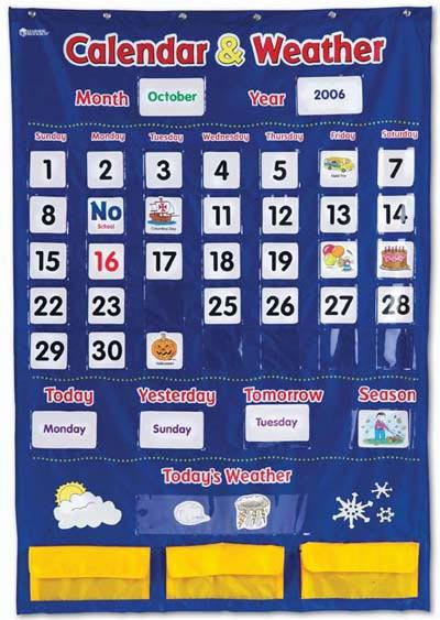 "Calendar & Weather Pocket Chart | 30.75"" x 44.25"""