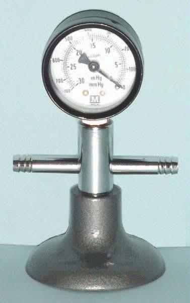 Bourdon Vacuum Gauge | Heavy Cast Iron Base