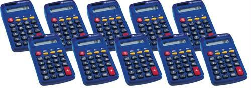 "Primary Calculators | Set of 10 | Four Functions | 4.5"" x 2.5"""