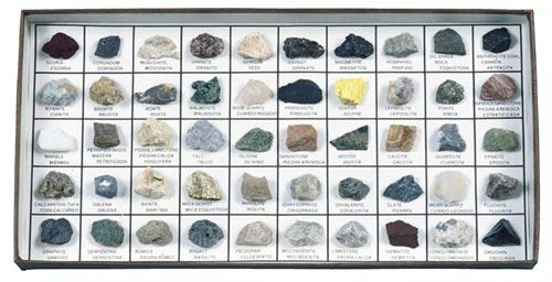 Rocks and Minerals | 50 Specimen Mounted Collection | Study Guide Included