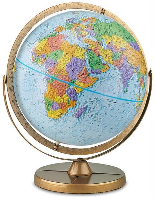 "Political Table Globe | Vivid, Bright Colors | 12"" Globe, 17"" Total Height"