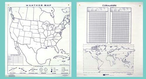 "Weather Map/Plotting Chart | 44"" x 50"" 