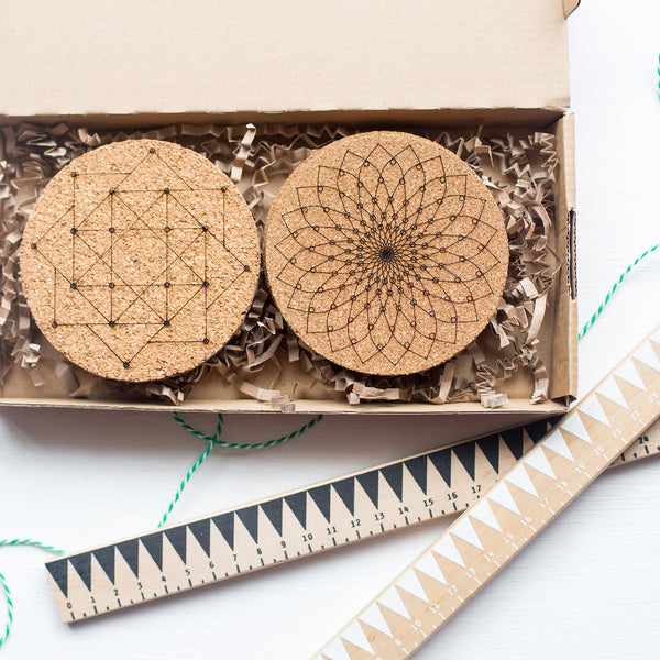 Geometric Cork Coaster Set