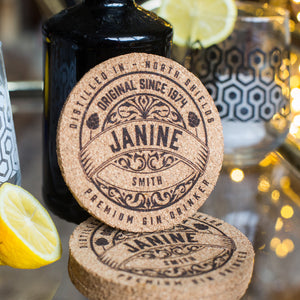 Personalised Gin Cork Coaster Set
